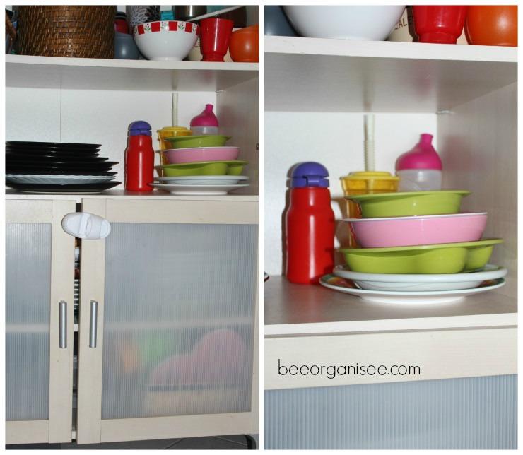 faciliter le rangement aux enfants : Ses assiettes et gobelets sont à leur hauteur. Ainsi ils peuvent se servir seuls