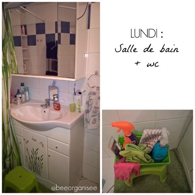 Le lundi c'est nettoyage de la salle de bain et des wc. Et j'ai 15minutes pour tout faire ! 2 clés pour un nettoyage plus rapide : la régularité et avoir tout le nécessaire sous la main. Le process wc : dépoussiérage de toutes les surfaces, aspirateur au sol, désinfectant sur toutes les surfaces pendant 5 minutes + produit wc (pendant ce temps je commence la salle de bain ), serpillère au sol. Le process salle de bain : vaporisation d'anti calcaire dans la baignoire et lavabo, dépoussiérage, nettoyage du miroir, nettoyage lavabo et baignoire, nettoyage du sol (aspirateur et serpillère) Sans oublier de vider les poubelles.... C'est fini! Pour me rendre la tâche un peu moins ennuyeuse j'écoute des podcasts ou de la musique. Un peu plus tard j'irais étendre la lessive que j'ai lancé ce matin. Et vous, que faites-vous aujourd'hui?