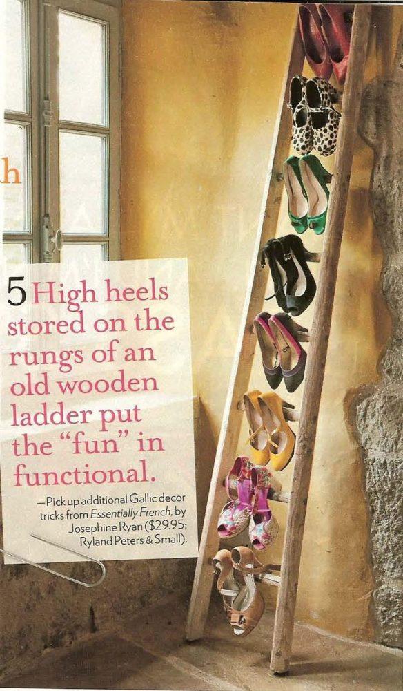 une échelle pour organiser les chaussures
