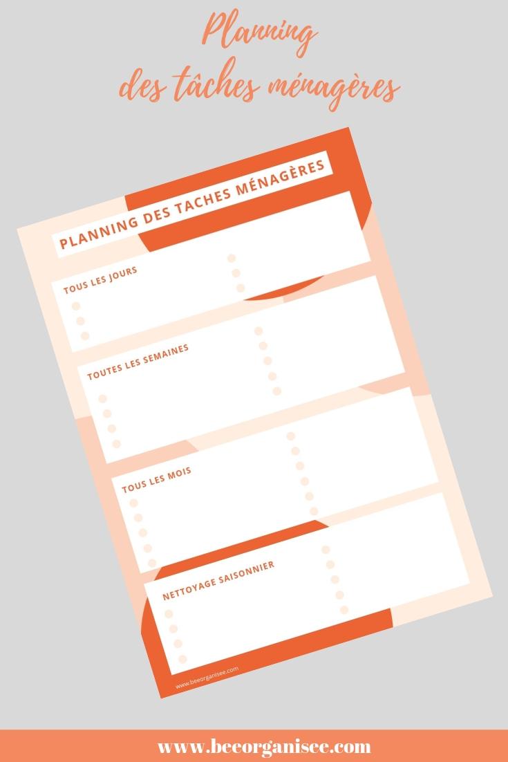 Téléchargez ce planning des tâches ménagères pour organiser vos séances de nettoyage